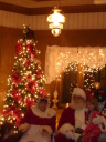 Christmas decorated room with Santa Claus